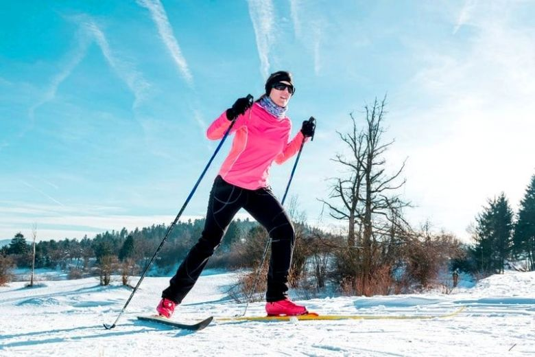 Skiing in pink boots