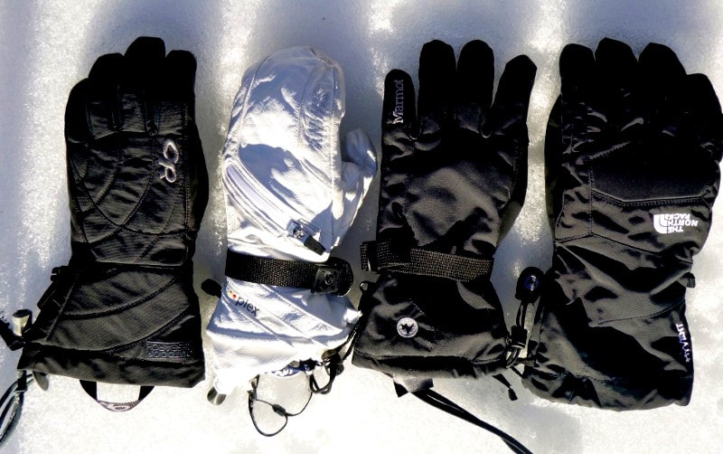 Varieties of ski gloves