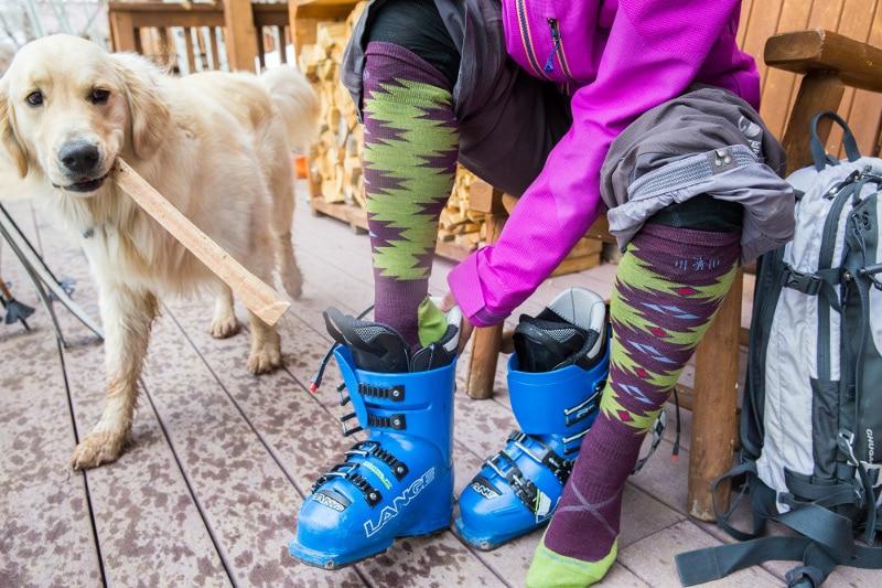 Wearing new ski socks