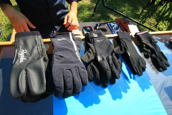 Winter gloves laid out