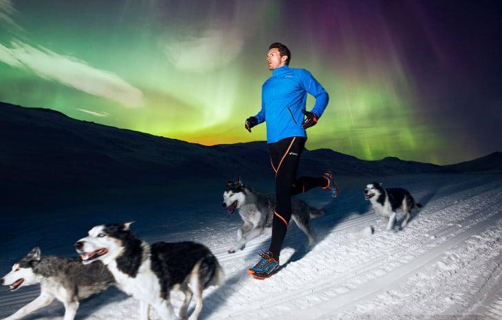 Winter running with huskies