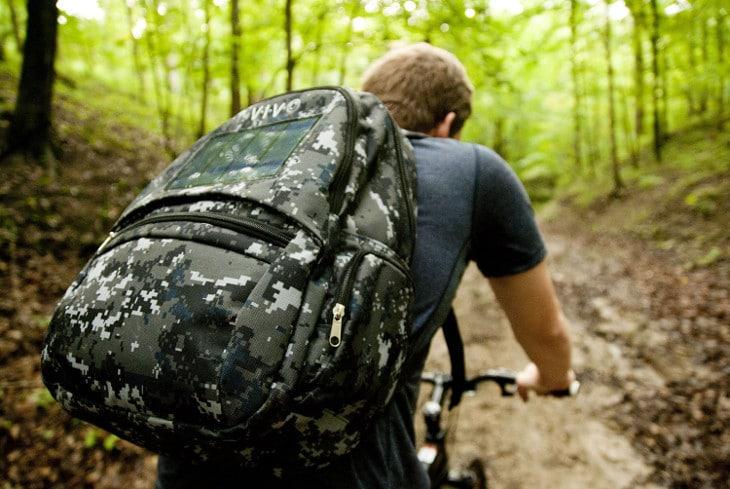 Biking with solar bag