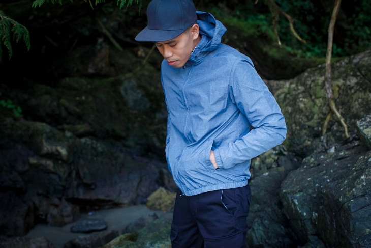 Blue windbreaker outdoors