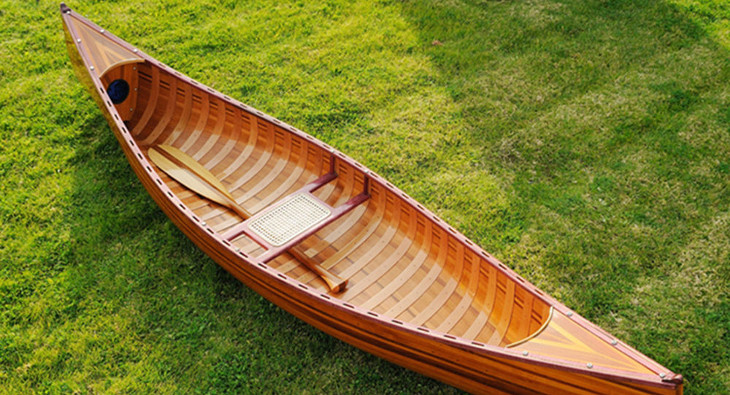 Canoe on backyard