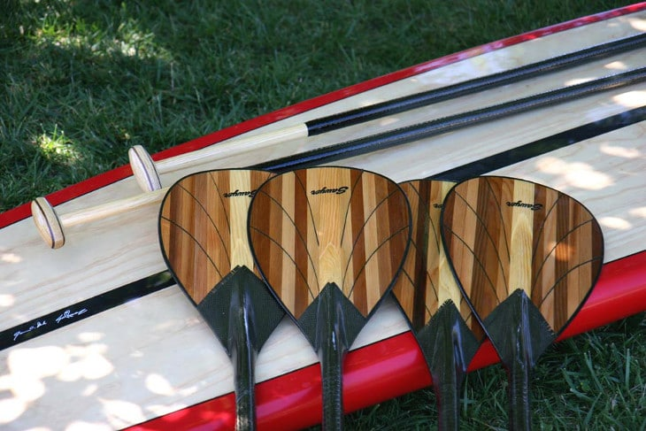 Canoe paddles on board