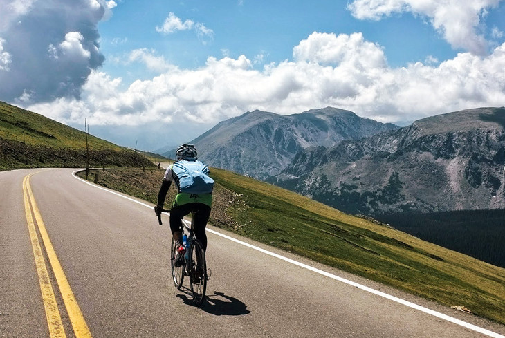 Cycling on long winding road