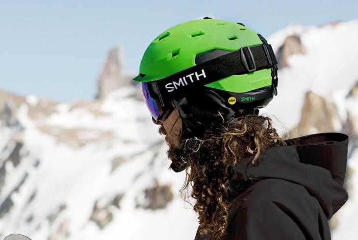 Green ski helmet