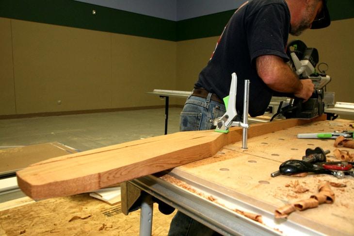 Making canoe paddle