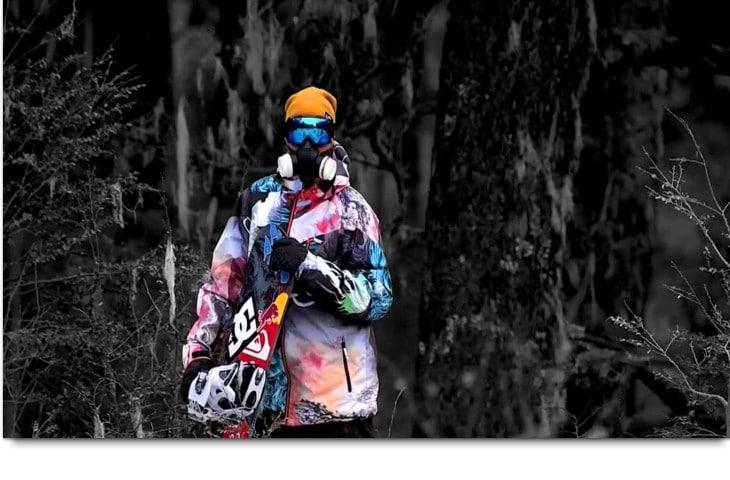 Man of snowboarding