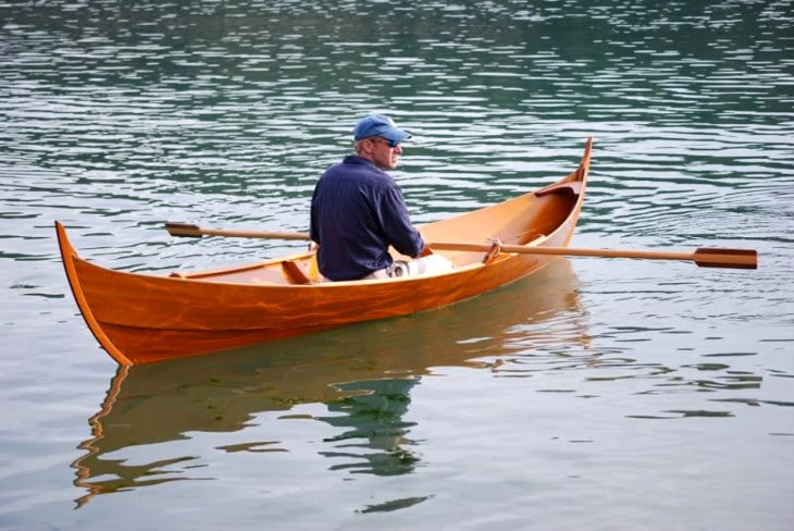 Man on viking canoe