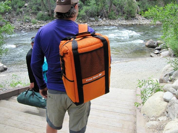 Orange backpack cooler