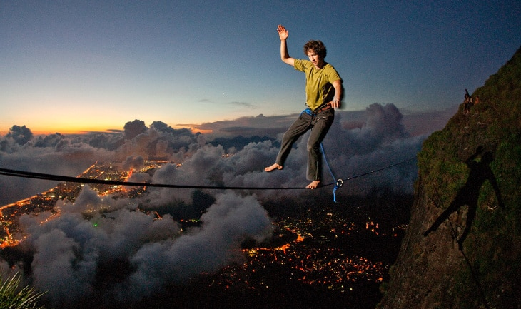 Slacklining on mountains