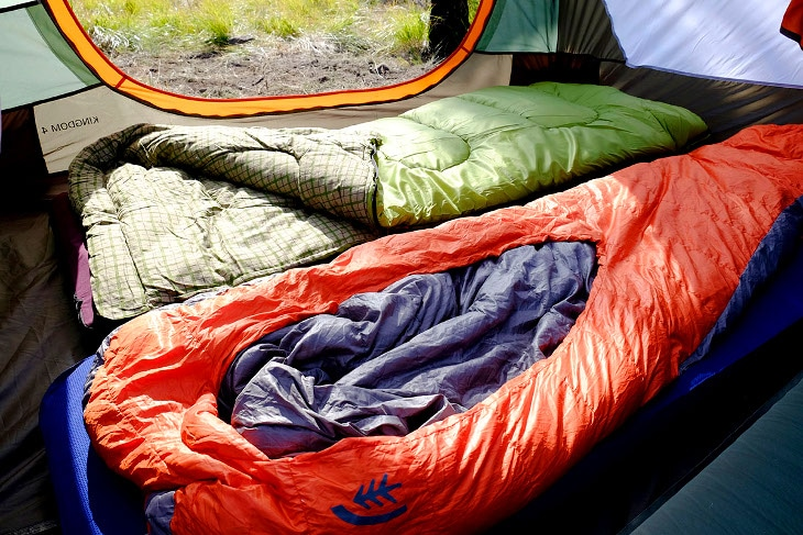 Sleeping bags inside tent
