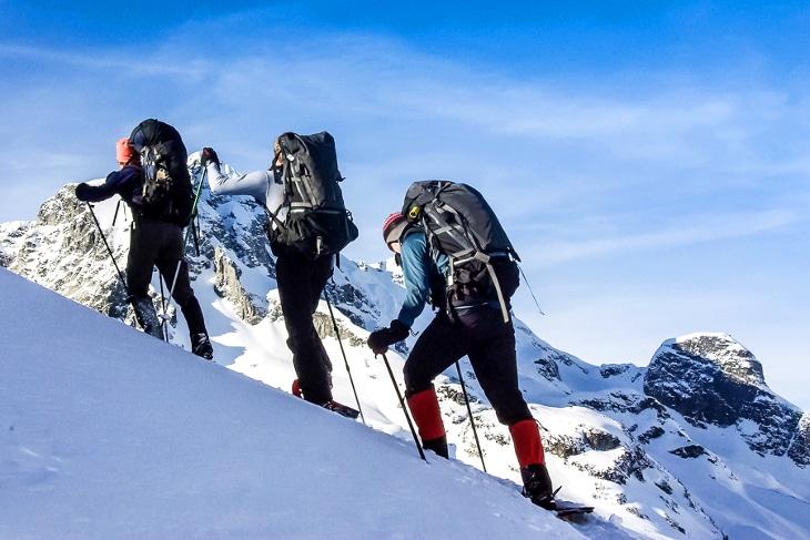 Snowy uphill hike