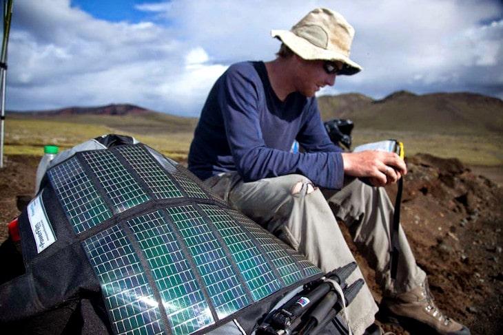 Solar backpack charging
