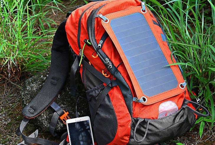 Solar panels on bag
