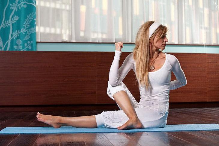 Woman all white yoga attire