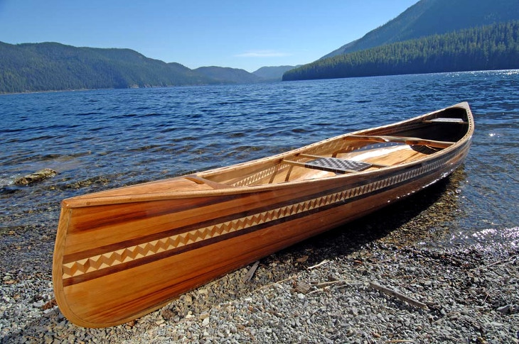 Wooden artistic canoe