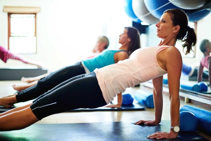 Yoga session in gym