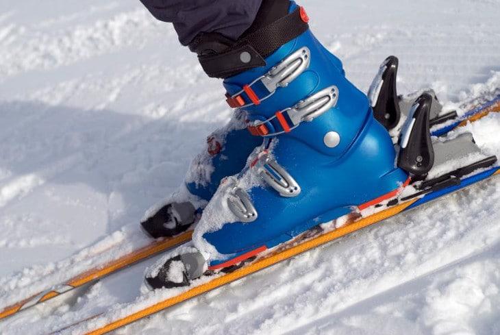 ski boots on ski board