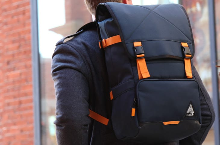 Backpack with orange accents