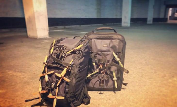 Backpacks in underground parking