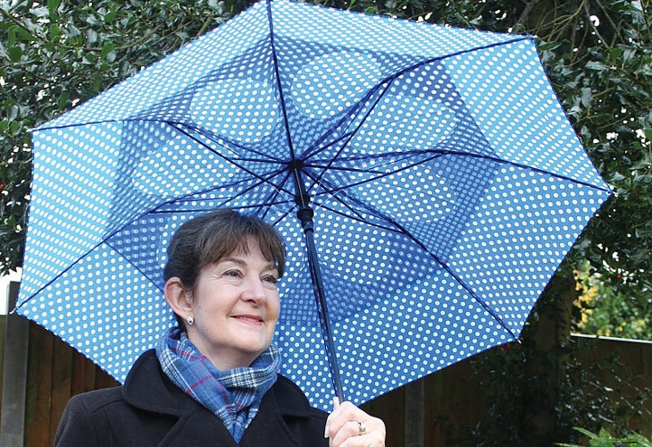 Blue polkadots umbrella