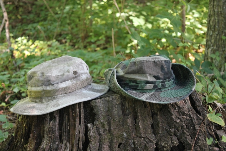 Boonie hats on tree trunk