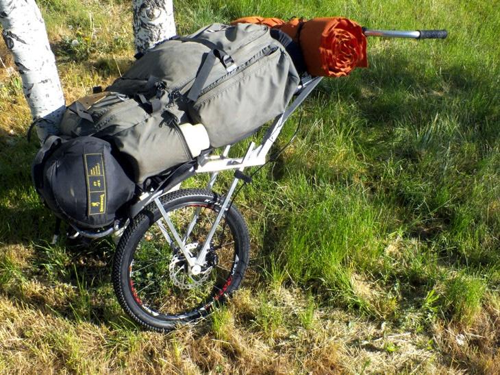 External framed backpack on packwheel