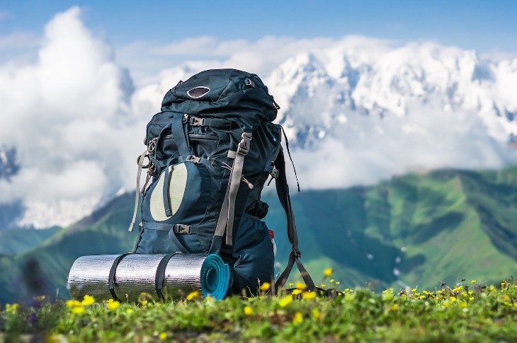 Gear-filled backpack