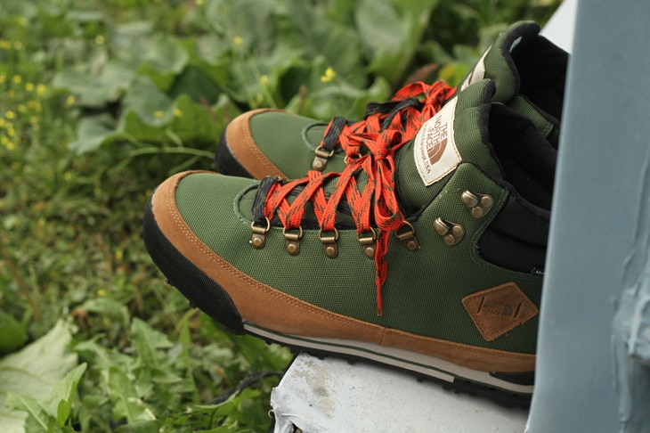 Green winter hiking boots