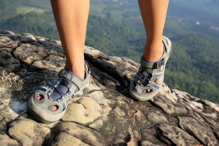 Hiking on sandals