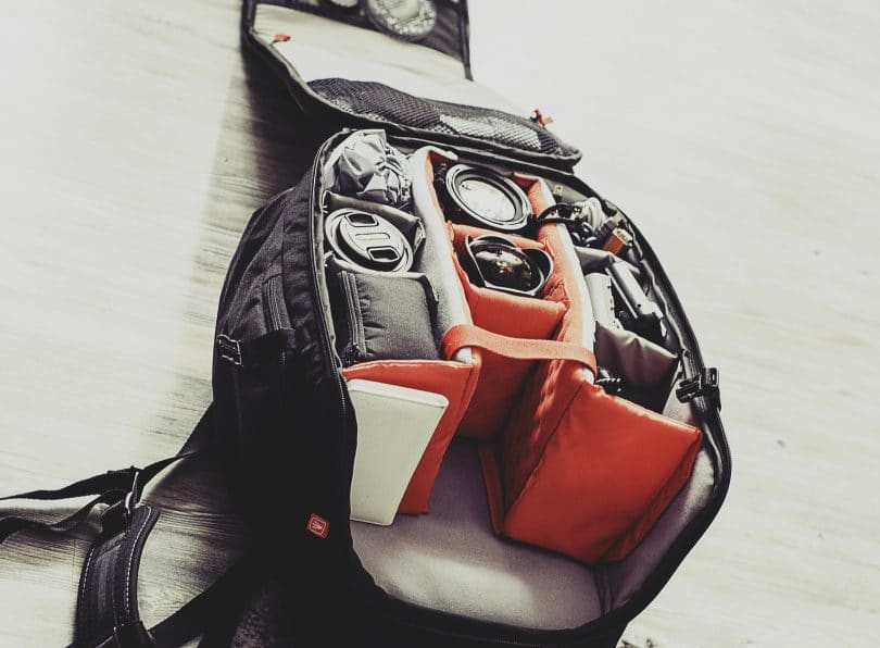 Multi-Compartment Backpack on the floor