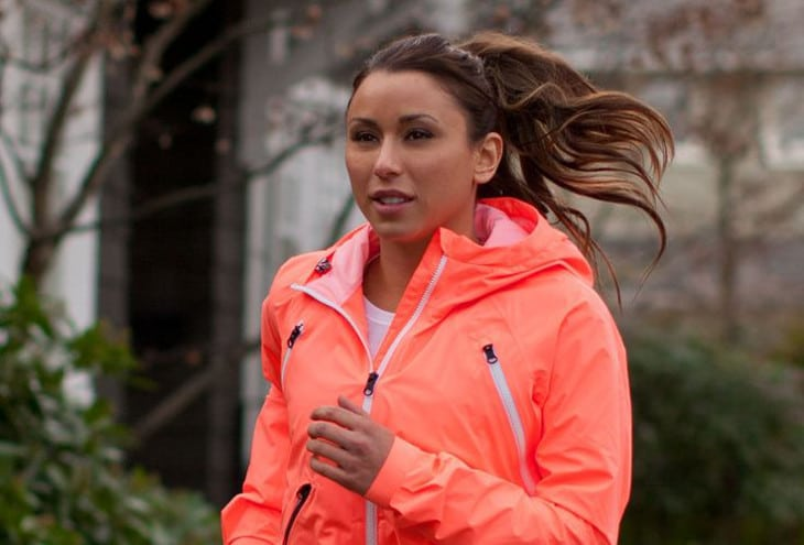 Neon orange running jacket