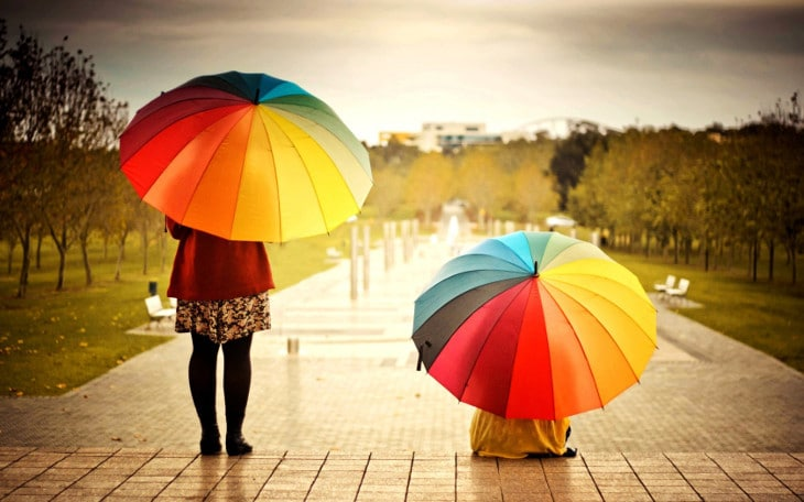 Rainbow colored umbrellas