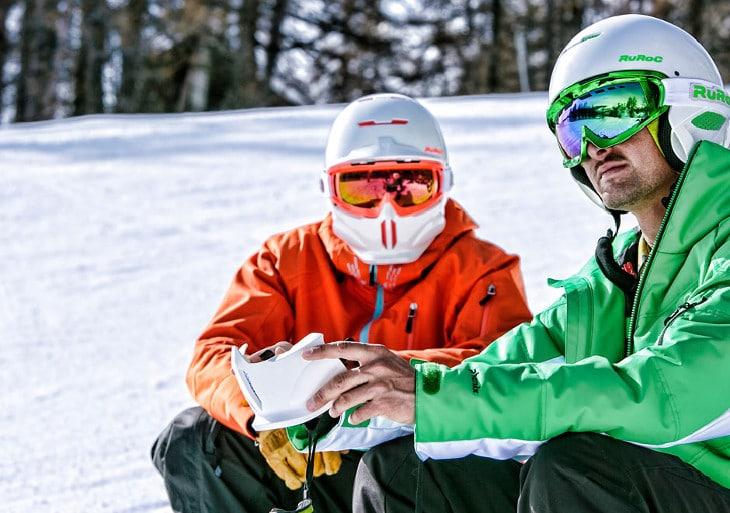 Skull style snowboard helmet