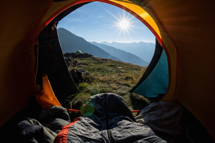 Sun greeting the tent