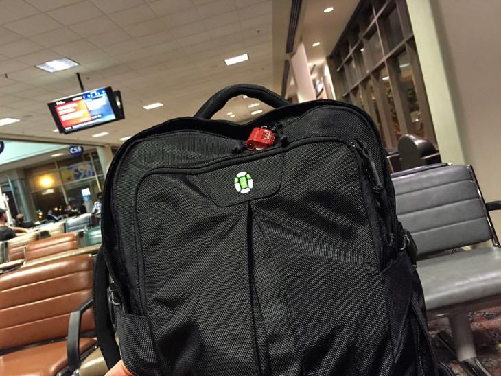 Travel bag on seat