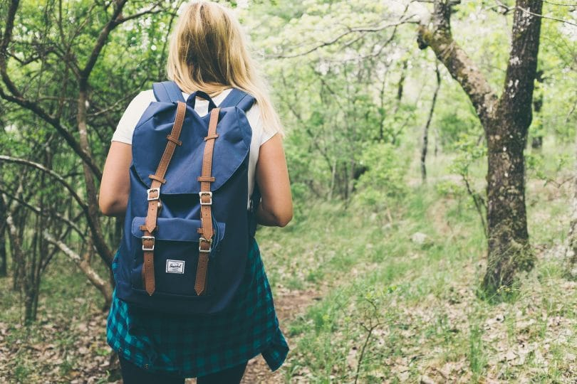 Girl traveling with a backpack