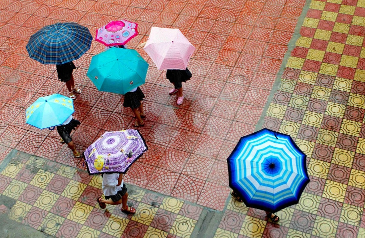View of colorful umbrellas