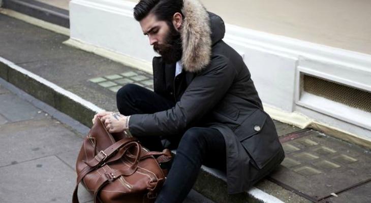 Wearing winter jacket on sidewalk