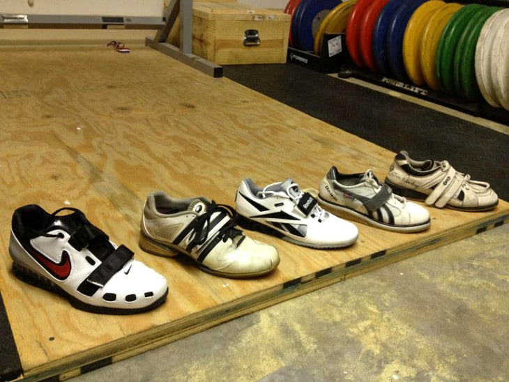 Weightlifting shoes on plywood