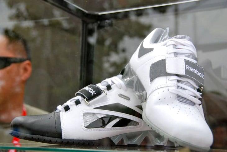 White reebok lifting shoes