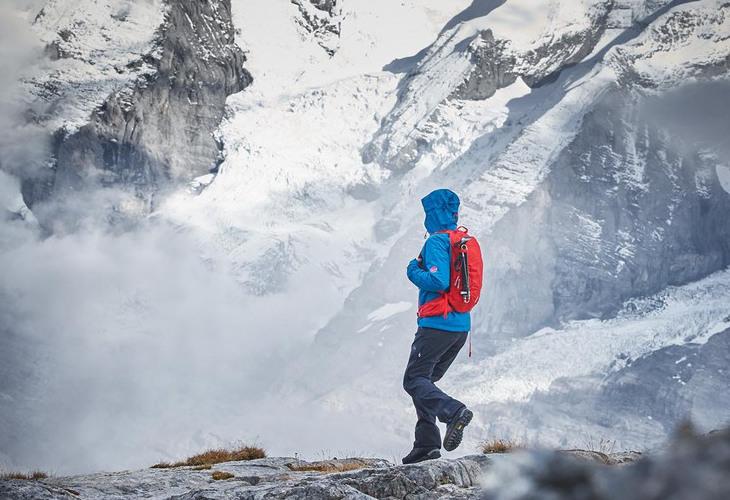 Woman snow hiking