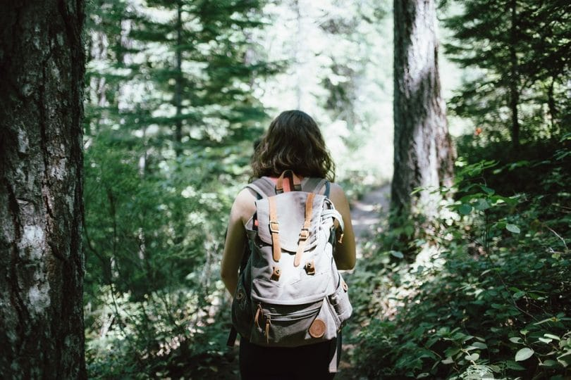 Girl with a outdoor hiking canvas