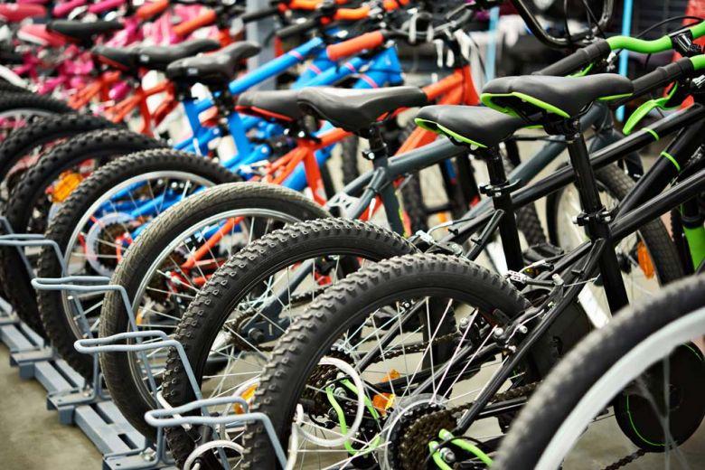 Modern mountain bikes in shop