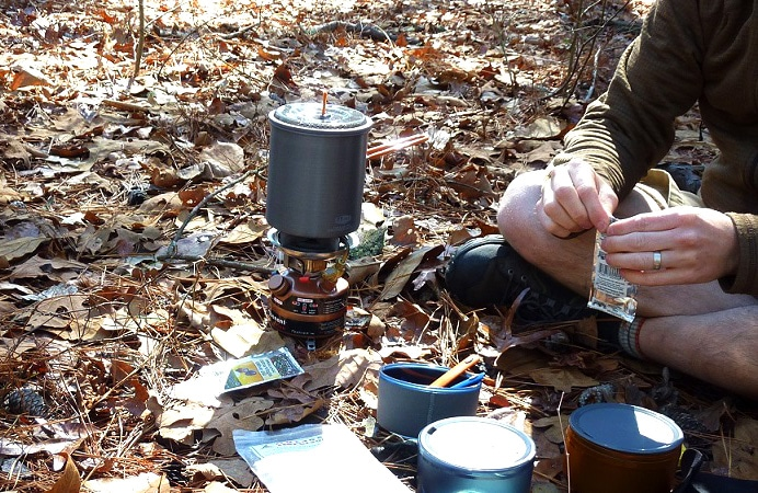 Cooking set used while hiking