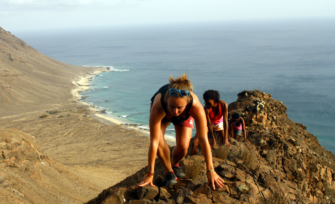 Girls hiking off trails