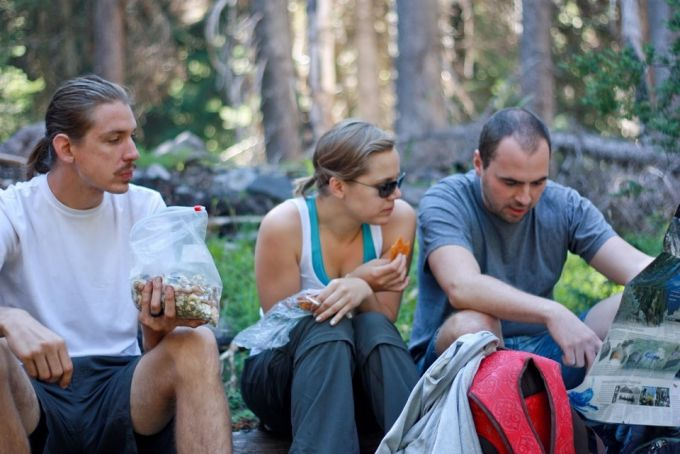 hikers eating snacks