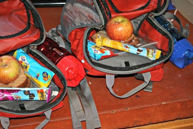 backpack full of snacks